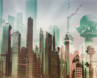 Abstract image of a virtual urban landscape