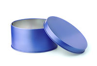 Open blue round metal box