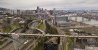 Overcast Skies Downtown Portland Oregon Highway Traffic Moving North on Interstate 5