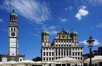 Rathaus und Perlachturm in Augsburg, Bayern, Deutschland