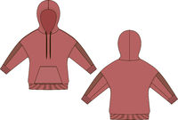 Red hoody fashion technical drawings. Flat Templates on white background.