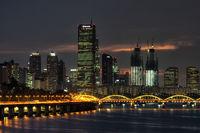 yeouido and hangang bridge at night
