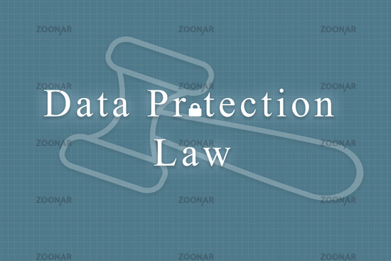 Concept of data protection law with gavel hammer as background.