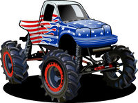 Vector Cartoon Monster Truck isolated on white background