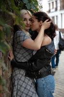 happy positive attractive lesbian couple