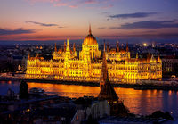 Hungarian parliament in evening