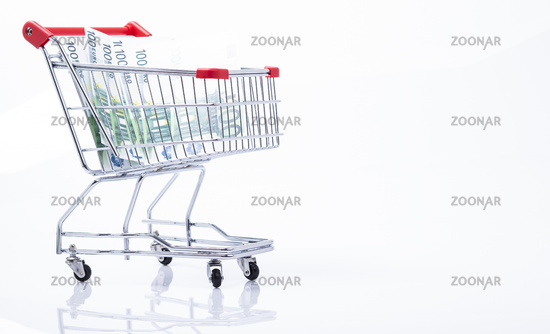 Einkaufswagen mit Geldscheine
