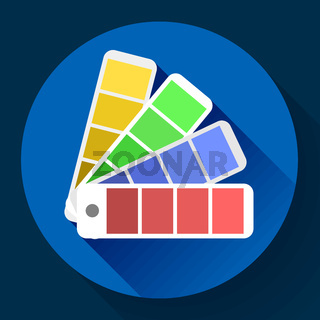 Color guide swatches palette - typographic fan icon. Flat design style.