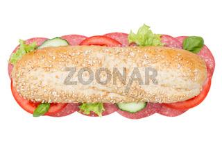 Brötchen Sandwich Vollkorn Baguette belegt mit Salami von oben freigestellt Freisteller
