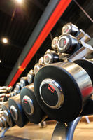 Gym interior with dumbbells stand