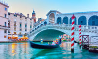 The Rialto Bridge in Venice in the evening