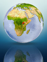 Uganda on globe
