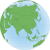 Illustration of Earth globe with focused on Asia