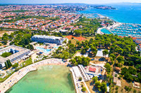 Borik bay and town of Zadar aerial view