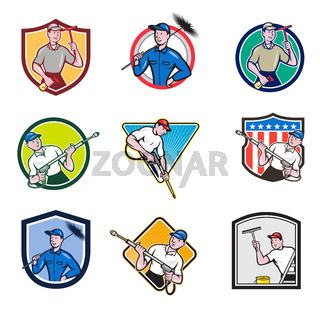 Cleaner Icon Cartoon Set