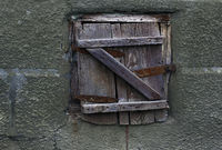 Rustic shutters on a wall