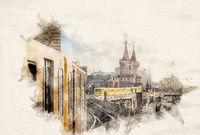 Watercolor Ubahn Trains