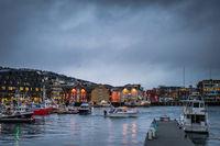 Tromso harbour in winter
