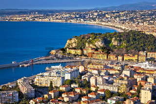City of Nice colorful waterfront and yachting harbor aerial view