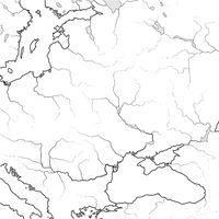 Map of The SLAVIC & BALTIC Lands: Ukraïne, Lithuania, Poland, Czechia, Croatia, Romania, Hungary. Geographic chart.