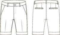 Fashion technical sketch of shorts with cuffs in vector graphic