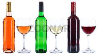 Wein Weinflaschen Weinglas Flaschen Glas Rotwein Weißwein Rosewein Rose freigestellt Freisteller
