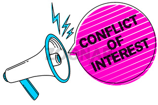 Writing note showing Conflict Of Interest. Business photo showcasing disagreeing with someone about goals or targets Sound speaker make announcement declare messages social network ideas.