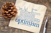 optimism word cloud on napkin