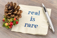real is rare reminder on napkin