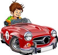 Cartoon retro car with driver