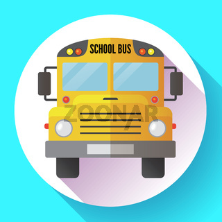 Yellow school bus icon Isolated on white background