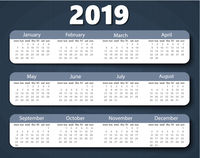 Calendar 2019 year vector design template. Week starting on Monday