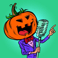 Halloween pumpkin character singer. Holiday party