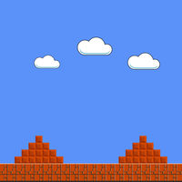 Old Game Background. Classic Arcade Design with Clouds and Brick