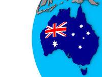 Australia with flag on 3D globe