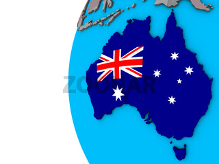 Australia with flag on 3D globe