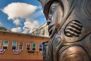 September 14, 2018 - Juneau, Alaska: Bronze sculpture by Native Tlingit artist Stephen Jackson.