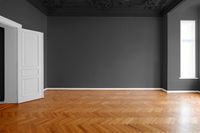 empty room, apartment renovation black walls -