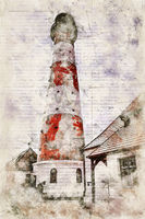 Digital artistic Sketch of a Lighthouse in Westerhever in Germany