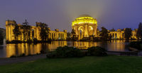Panoramic view of the Palace on a foggy summer evening.
