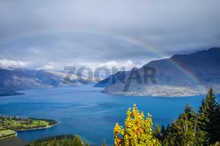 Rainbow on Lake Wakatipu and Queenstown, New Zealand