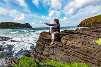 Woman enjoys the lively Atlantic Ocean