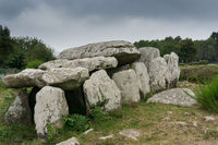stone tomb or dolmen at the standing stone alignments of Carnac in Brittany
