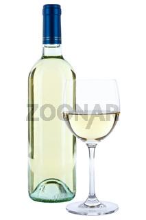 Weinflasche Wein Flasche Glas Weinglas weiß weißer Weißwein Weisswein freigestellt Freisteller
