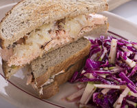 Salmon Sandwich and Red Cabbage Salad