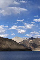 Vertical view Pangong Tso or Pangong Lake. It is 134 km or 83 mi long and extends from India to China.