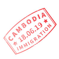 Cambodia International travel visa stamp on white. Arrival sign purple rubber stamp with texture