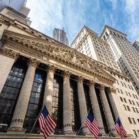 Exterior of New york Stock Exchange, Wall street, lower Manhattan, New York City, USA.