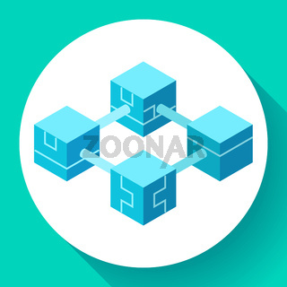 Blockchain technology icon, servers network for bitcoin mining, cryptocurrency concept, vector illustration.