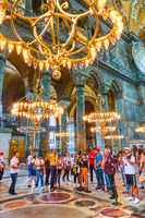 Guided group of sightseers in The Hagia Sophia